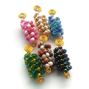Wire wrapped, Beaded Dreadlock beads, hair accessories, ethnic jewelry......Choose a color