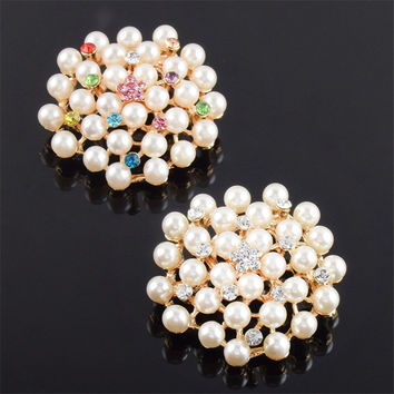 Beautiful Luxury Imitation Pearl Crystal Brooch