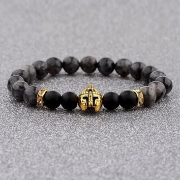 Amader New 5 Style Gold Roman Warrior Gladiator Helmet Beaded Bracelet Men Matte Weathering Bracelets For Women WAB523