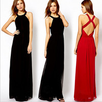 Slim Backless Chiffon Vest Dress One Piece Dress [4915023556]