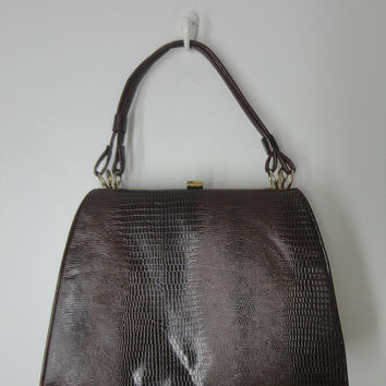 1960s Handbag Kelly Bag / Brown Faux Snake / Dover USA / Mad Men Style Mid-Century