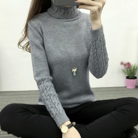 autumn winter women fashion turtleneck thick sweaters pullovers lady girl casual warm sweaters pullovers