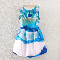 White Painted Blue Print Pleated Skater Dress