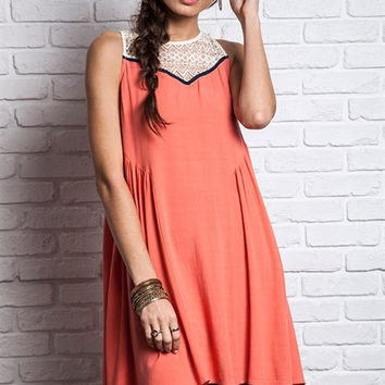 Lace To My Heart Flowy Dress - Coral