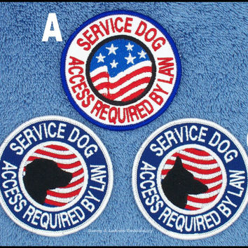 1 Service Dog Access Required By Law Flag Patch 3 inch round Danny & LuAnns Embroidery