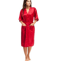 Summer Red Women Silk Sexy Lingerie Robe Chinese Traditional Lady Sleepwear Vintage Kimono Gown Solid Color Plus Size XXXL A-049