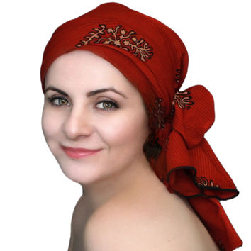 Red Print Turban, Head Wrap, Alopecia Scarf, Chemo Hat & Scarf Set