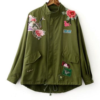 Fashion army green peacock rose embroidery leisure loose coat