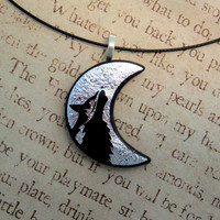 Tribal Howling Wolf Moon Fused Glass Pendant Necklace