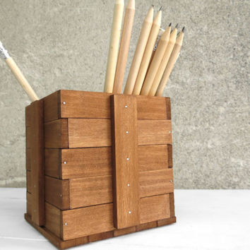Katun I, pencil square simple minimal holder cube box pen organizer wood gift office desk decor work working wooden walnut wood, Paladim