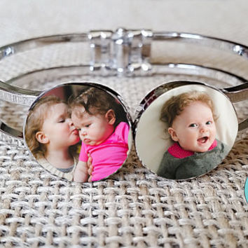 Photo Cuff Bracelet / Photo Jewelry/ Photo Bracelet / Picture Bracelet / Silver Cuff Bracelet / Snap in Charms / Photo Charm / Custom Gift
