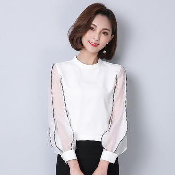 White Blouse Chiffon Sleeves