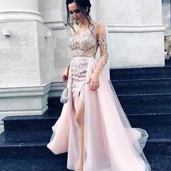Evening Dress Pink Long Sleeves Gown Dresses Prom Dress