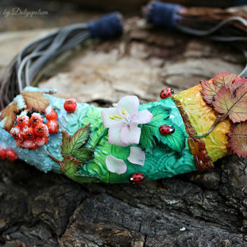 """Unique Necklace """"4 seasons"""" - Handmade - Jewelry - Best gift  - Nature - Floral"""