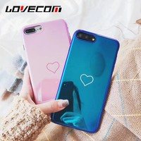 LOVECOM Blu-Ray Phone Case For iPhone 6 6S 7 8 Plus X Hot Korean Heart Mirror Soft TPU Phone Back Cover Cases Best Gifts