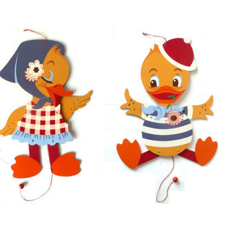 vintage 60s Mertens Kunst wooden jumping jack . two little ducks . ducklings . quack quack . nusery decor . wall hanging .  easter