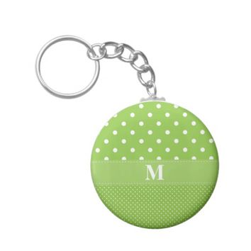 Lime Green Polka Dot Pattern Basic Button Keychain