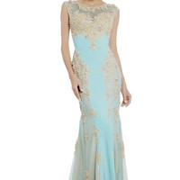 PRIMA 17-4295 Lace Applique Sheer Illusion Prom Dress Evening Gown