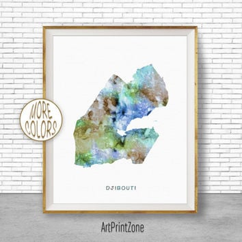 Djibouti Art, Watercolor Map, Djibouti Map Art, Office Wall Decor, Office Wall Art, Living Room Art, Map Decor, Map Wall Art Print Zone