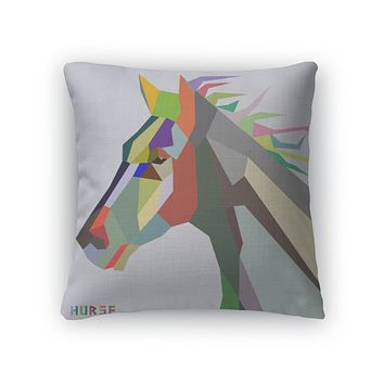 Throw Pillow, Horse Head Symbol Of New Year 2014 Trendy Style Geometric