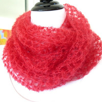 Orange silk cowl, silk mohair infinity scarf, hand crochet loop scarf, gift under 40