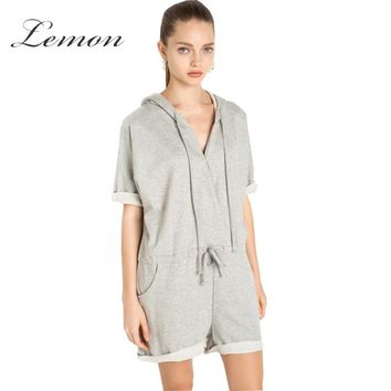 Lemon Auutmn Fashion Gray Casual Hooded Women Jumpsuit Preppy Style Drawstring Chic Jumpsuits Slim Knitted Pullover Playsuits