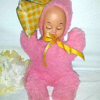 Vintage RUBBER FACE Pink Plush, Sleeping Baby with Pillow,Rubber Face Sleeping Baby Girl,Sleeping Musical Baby Plush,Plushie, Pink, Yellow