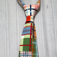 Patchwork Plaid Diaper Cover and Tie Set. Birthday, Cake Smash, Church, Ring Bearer Baby.