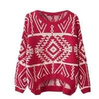 Zeagoo Women's Geometric Knitted Sweater Loose Pullover Outwear