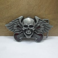 Classic Gothic Vintage Europe guitar and wings Terror Skull Metal Belt Buckle Ghost Rider fashion novelty Jeans accessories