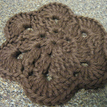 Crochet Coaster - African Flower Coasters - Set of Four Chocolate Brown Coasters or Wash cloths