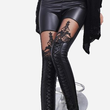 Black Punk Gothic Fashion Women Leggings Sexy PU Leather Stitching Embroidery Hollow Lace Legging Women Legging