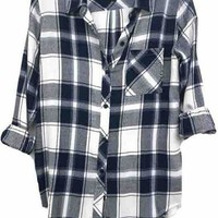 Rails Hunter Plaid Shirt in White/Navy/Fog