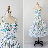 1950s dress / 50s floral dress / White, Blue, and Green Pinup Halter Dress