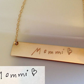 Actual Handwriting Signature Necklace • Children art drawing engraved • Personalized engraved 14k gold fill gold bar nameplate Necklace •