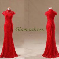 new design high collar bridal wedding dress mermaid red lace wedding dresses long chinese wedding prom gowns