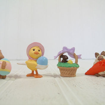 Vintage Hallmark Cards Merry Miniatures Easter Spring Collectibles - Bunny with Egg, Duck with Egg, Easter Basket, & Bunny and Large Carrot