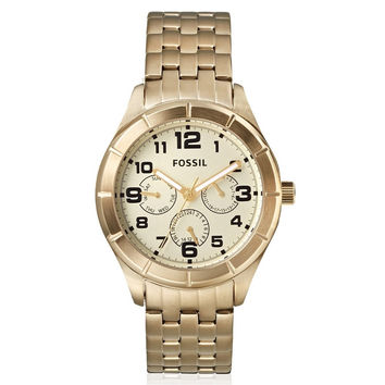 FOSSIL Mens Gold Tone Stainless Steel Chronograph Watch
