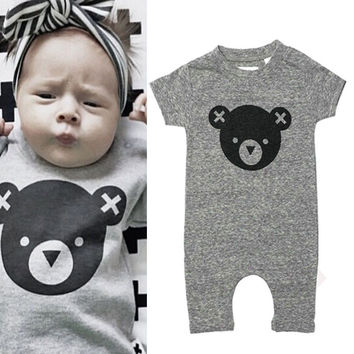 Cartoon 2016 Newborn Infant Baby Clothing Summer rompers cartoon Cute Bear Gray baby clothes boys 0-12M Playsuits New Arriving