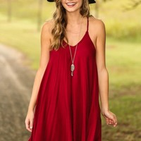 Traveling For Miles Dress-Wine