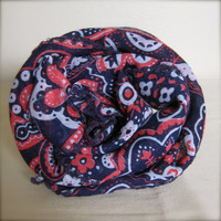FREE SHIPPING Navy & Dusty Rose Cotton Square Scarf - Sheer Floral with Embroidered Edges
