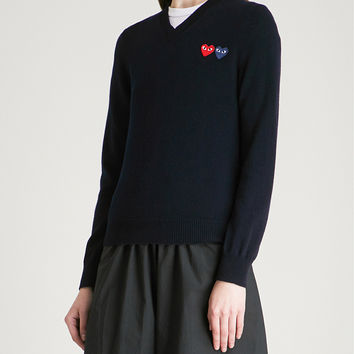 COMME DES GARCONS PLAY 2 Heart-embroidered wool jumper