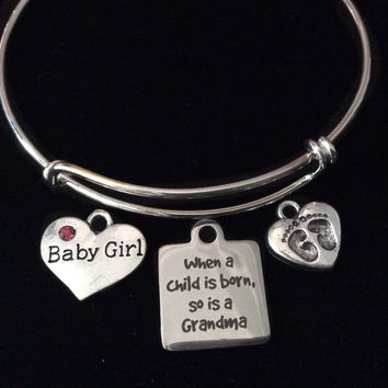 When A Child Is Born So Is A Grandma Expandable Charm Bracelet Baby Girl Silver Adjustable Bangle Grandmother Gift New Baby