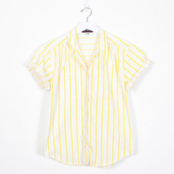 Vintage 80s Shirt Yellow White Striped Shirt Button Down Shirt New Wave Shirt Hipster Blouse 1980s Shirt Boxy Camp Shirt Mod Top M Medium L