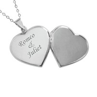 'Sterling Silver Engraved Heart Locket Necklace'