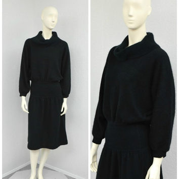Vintage 80s Fuzzy Angora Sweater Dress, Black Sweater Dress, Cowl Neck Dress, Dolman Sleeve Dress, Batwing Dress, Knee Length Dress