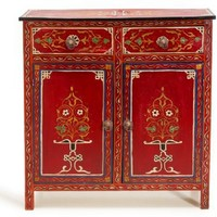 Red Handpainted Dresser - Dressers & Shelves - Casablanca Market