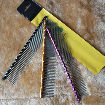 Dog Grooming Stainless Steel Pets Hair Grooming Dense Comb Slicker Two-sized Brush For Dogs