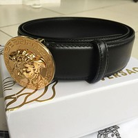 PEAP NWT Versace Round Gold Medusa Buckle Black Leather Men's Belt 100/40 fit 35-36
