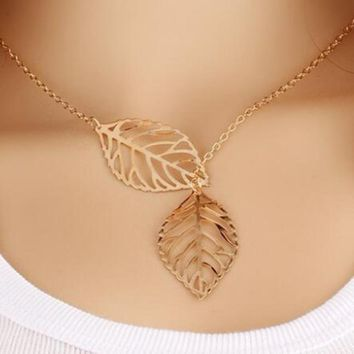 Beautiful Asymmetrical Gold Tone Leaf Choker Style Necklace